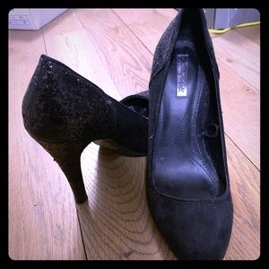 Black suede high heel with sparkly heel